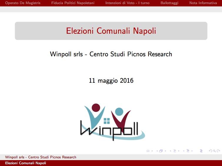 Sondaggio WINPOLL 11 Maggio 2016 - Napoli