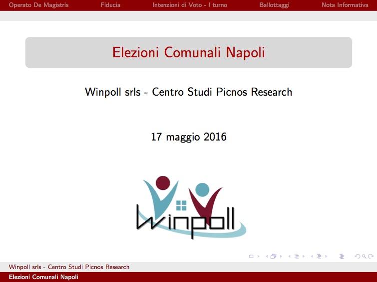 Sondaggio WINPOLL 17 Maggio 2016 - Napoli