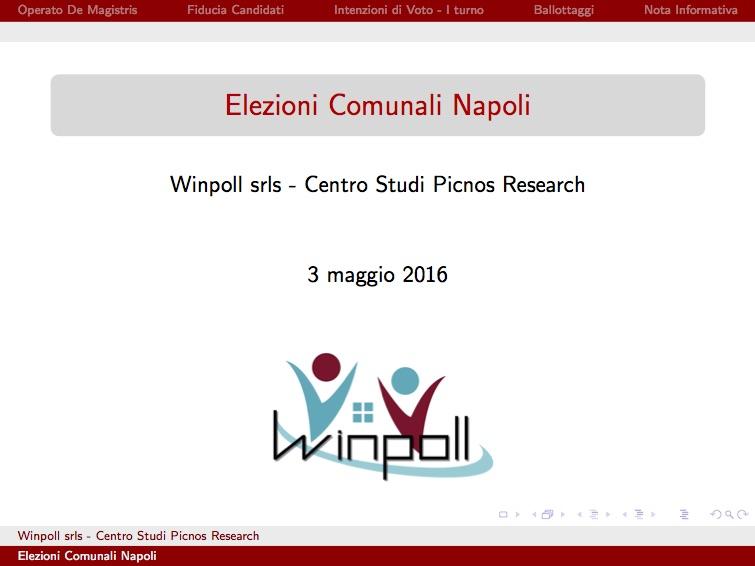 Sondaggio WINPOLL 3 Maggio 2016 - Napoli