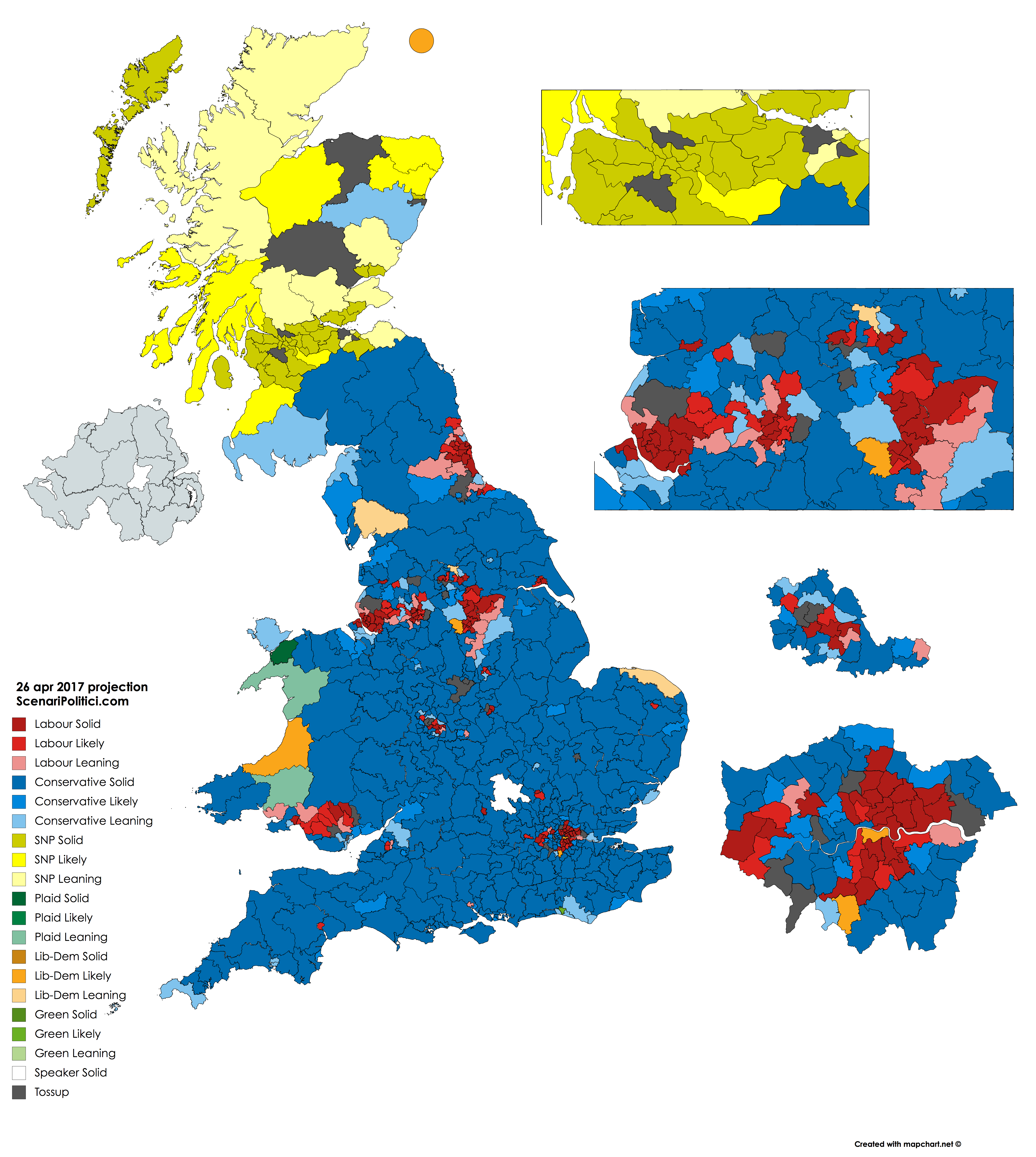 British General Election 2017 - 26 april seat projection
