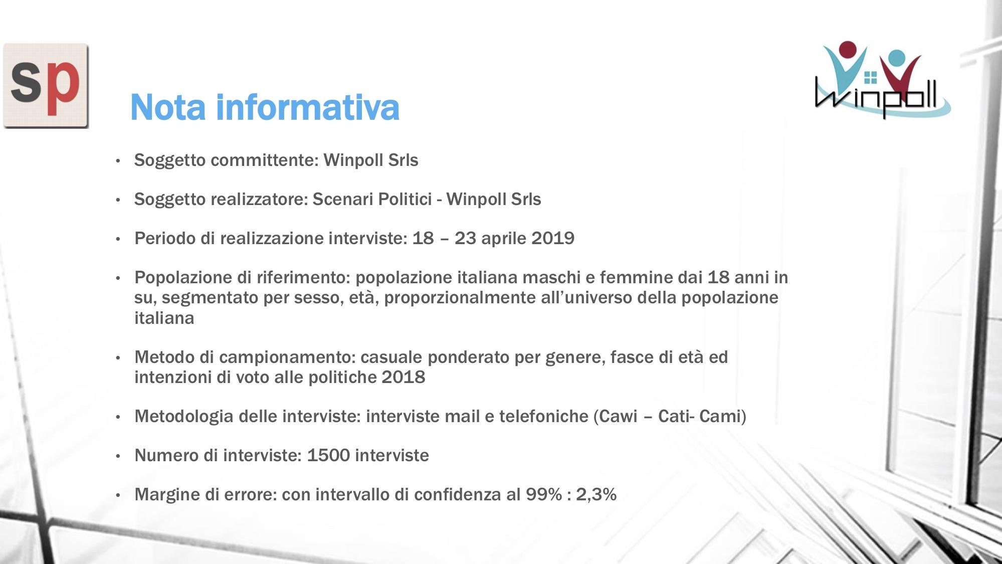 Sondaggio Scenari Politici WinPoll 23 aprile 2019